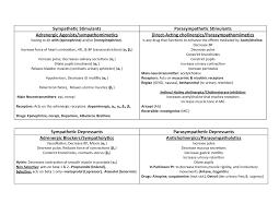 Adrenergic Receptors Chart Cholinergic Adrenergic Chart Dhyg 120 Pharmacology Studocu