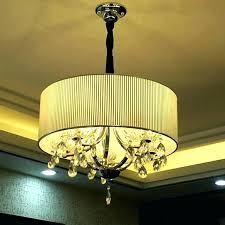 crystal drum shade chandelier white