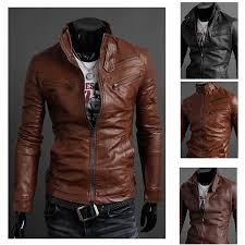 korean slim fit collar leather motorcycle jackets
