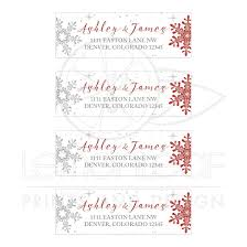 Red Silver Snowflake Winter Wedding Address Mailing Labels