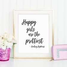Quotes For Teenage Girls Magnificent Happy Girls Quote Cute Teen Girl Gift Girl Fashion Poster Etsy