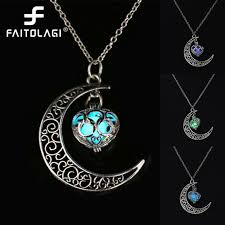 moon glowing necklace gem charm jewelry silver plated gifts for women