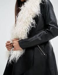 river island waterfall coat with faux fur collar black women coats river island shoes