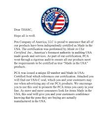 Thasc Letter From Pca Pens Are Made In The Usa Certified