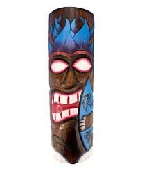 blue flame wolf surfboard tiki mask wall art on tiki mask wall art with beachcombers coastal life blue flame wolf surfboard tiki mask wall