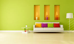 inspiration interior design green wall paint chandelier whtie sofa colorful cushions end table ceramic flooring