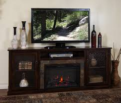 corner electric fireplace tv stand dark brown
