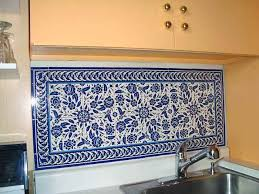 cobalt blue kitchen tile kitchen backsplash tile colorful trees peas birds and flowers