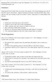 Foot Locker Sales Associate Resume Template Best Design Tips