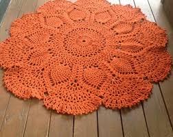 burnt orange rug. Pineapple Doily Rug - Burnt Orange