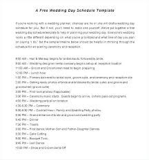 Wedding Ceremony Timeline Template Day 4pm Schedule Free