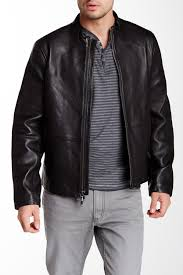 image of john varvatos star usa whipstitch genuine leather racer jacket