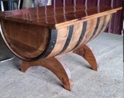 storage oak wine barrels. Rustic Oak Whiskey Barrel Coffee Table With Storage - Crescent Moon Legs Wine Barrels