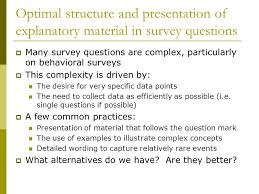 presentation survey examples new experiments on the design of complex survey questions paul