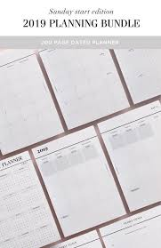 Sunday Start 2019 Printable Planner Inserts With Monthly Planners Weekly Planners 2019 Diary And Year Overview For A5 A4 Us Letter