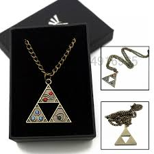 anime the legend of zelda necklace box cosplay triangle otaku pendant bronze hot