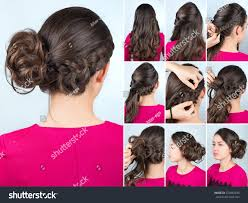 Twisted Hair Style hairstyle twisted bun one side braid stock photo 523882843 2176 by wearticles.com