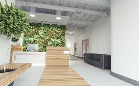 eco friendly office. Wall Covered In Leafs For Eco Friendly Office Design