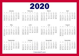 Printable Free 2020 Calendar Horizontal Red Calendarp