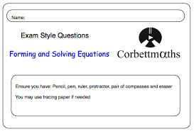 forming and solving equations corbettmaths com 2016 04 20 forming equations involving perimeter or angles and practice questions