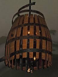 light fixture made from wine barrel