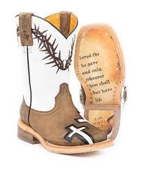Tin Haul Tan Crosses Leather Cowboy Boots Kids
