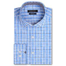 Bugatchi Charts Shaped Fit Long Sleeve Button Up Sport Shirt Classic Blue