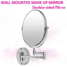 wall mounted bathroom mirror with extending arm 5x magnification double sided 8 inch shaving and make up mirror 5x magnification