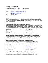 Senior Copywriter Resume Resume Contact George C Simpson Creative Director 17