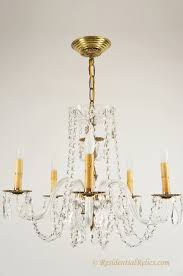 vintage 5 candle crystal chandelier with glass arms circa 1940s