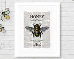 Bee Print Honey Bee Art Spring Home Decor Farmhouse WallBee Home Decor