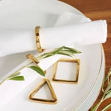 View in gallery Geometric gold napkin rings