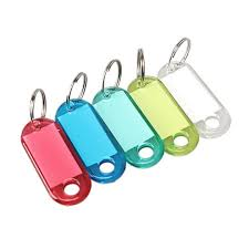 <b>100 Pcs Colorful</b> Clear Plastic Key Tags ID Label with Key Chain ...