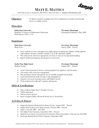 Bunch Ideas of Sample Resume For Maths Teachers With Format Sample