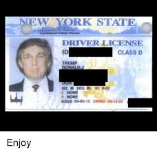 05-03-12 None On Me me Eyes Issued D Class Driver Expires 06-14-20 Ht Bl York New M State Trump Sex 6-02 E R Meme License Id