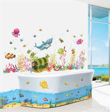 kids bathroom wall decor. Contemporary Kids Cartoon Underwater World Fish Shark Fish PVC Wall Decals Stickers For Kids  Rooms Bathroom Decor Children Giftin From Home U0026 Garden  In R