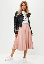 pink faux leather pleated midi skirt xc9463