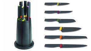 most kitchen knives have blades that inevitably touch the kitchen surface or board when popped down between tasks sending clean freaks into an instant