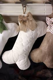 Quilted Dog Bone Christmas Stocking with Optional Bow - Pet Stocking