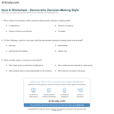 quiz worksheet democratic decision making style study com print democratic decision making style definition overview worksheet