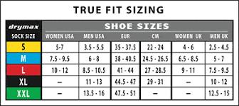 Sock Knitting Foot Size Chart Drymax Thin Running Socks No Show Tab