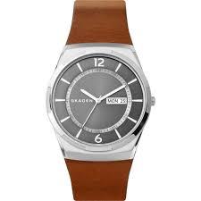 men s skagen melbye watch with brown leather strap