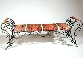 wrought iron indoor furniture. Wrought Iron Indoor Bench Furniture With Striped Red Cushion N