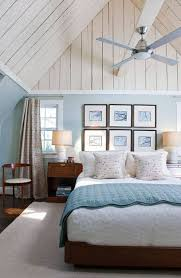 Bedroom , Fresh Coastal Bedroom Ideas : Coastal Bedroom Ideas With Wall  Hanging Pictures And Fan