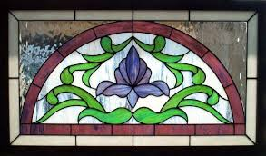 victorian flower arch stained glass transom