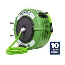 retractable green garden hose reel