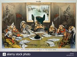 king chester arthur s knight cap s of the round table cartoon showing chester arthur and cabinet members wearing nightcaps sleeping around table