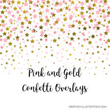 Confetti Brush Photoshop Pink And Gold Confetti Overlays Pack Of 14 Pngs