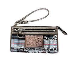 Coach 44413 Poppy Tartan Zip Wallet Black
