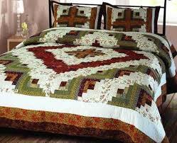 Buy King Size Quilts & Coverlets Sets Online & Log Cabin Quilt King Handmade Bedding Ensembles 106